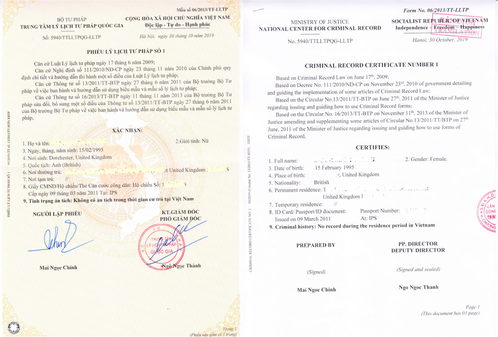 Vietnam Criminal Record/police check/Police Clearance
