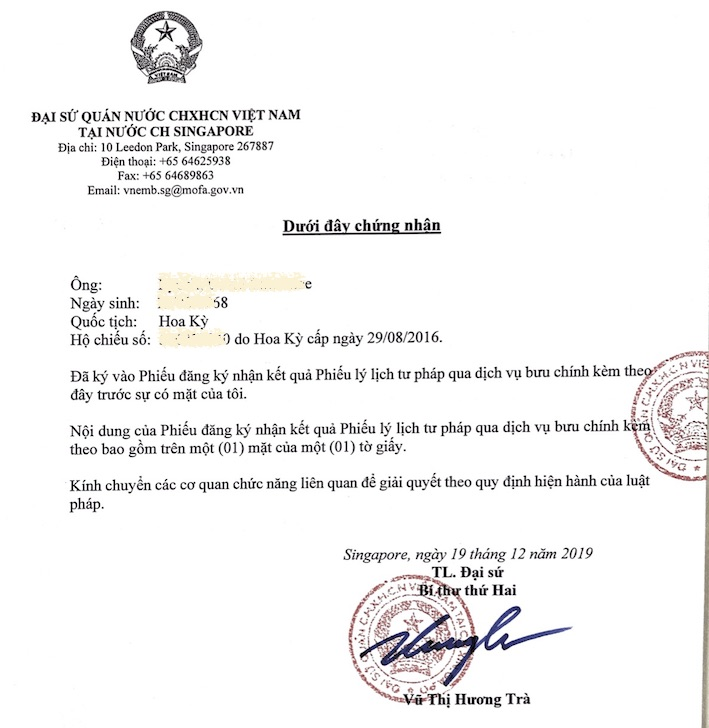 Statement of Vietnam embassy in Singapore to apply for Vietnam police check